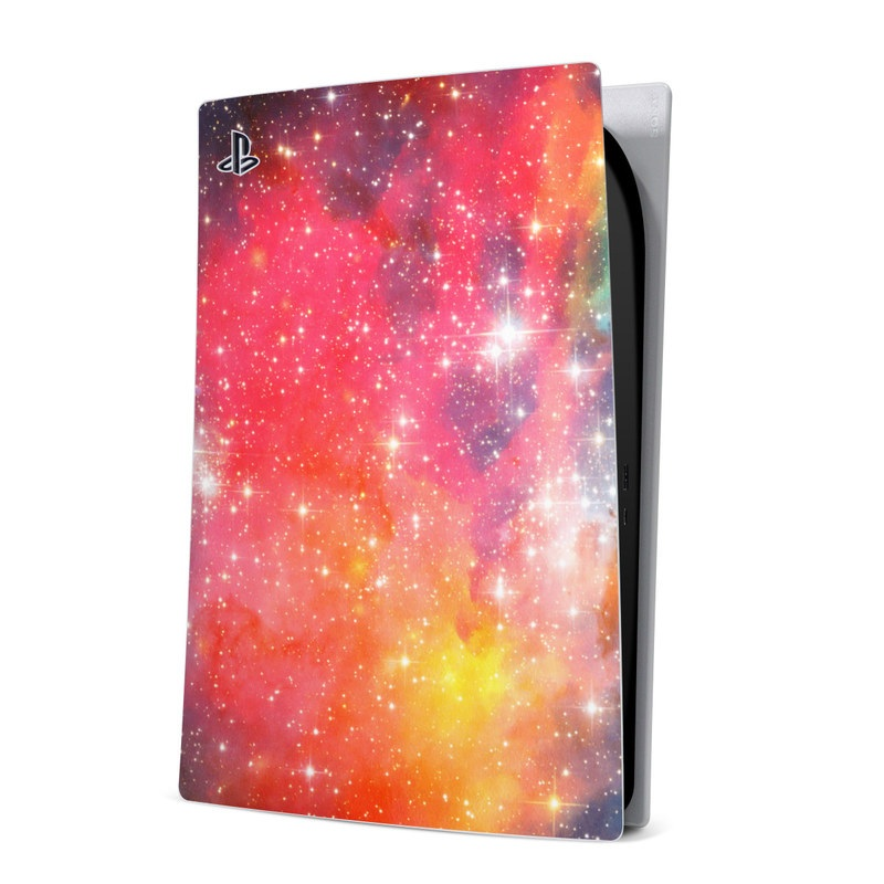 PlayStation 5 Digital Edition Skin design of Nebula, Sky, Astronomical object, Outer space, Atmosphere, Universe, Space, Galaxy, Celestial event, Star with white, black, red, orange, yellow, blue colors