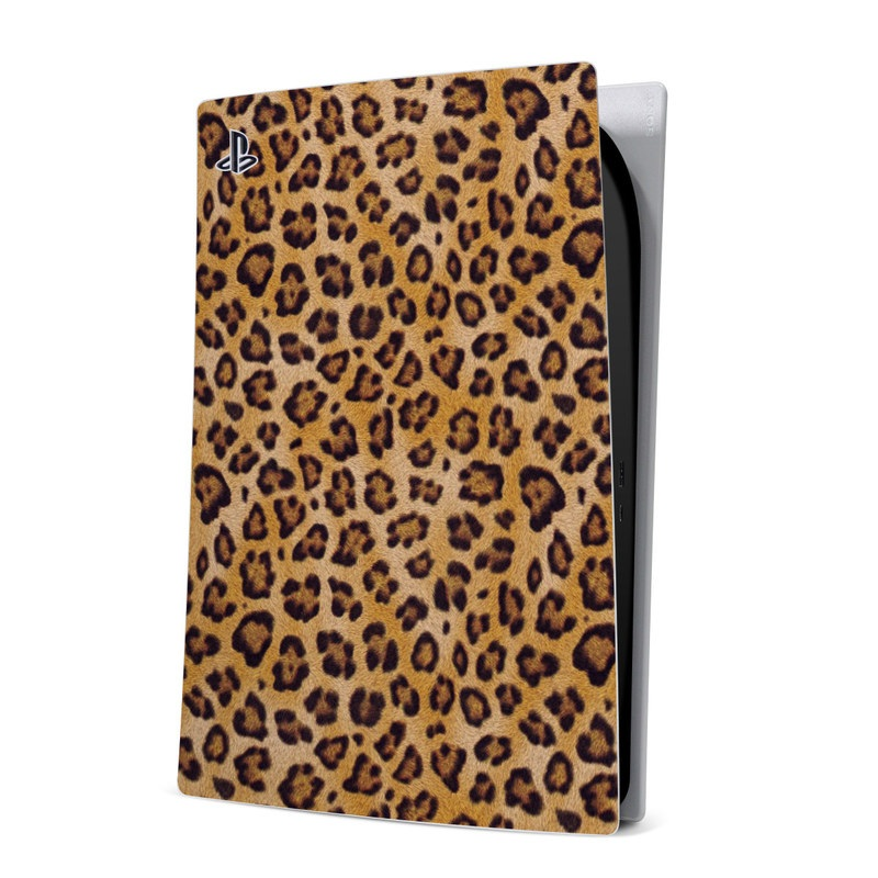 PlayStation 5 Digital Edition Skin design of Pattern, Felidae, Fur, Brown, Design, Terrestrial animal, Close-up, Big cats, African leopard, Organism with orange, black colors