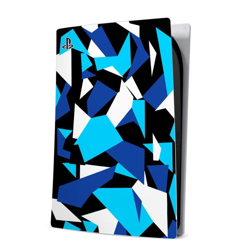 PlayStation 5 Digital Edition Skin design of Blue, Pattern, Turquoise, Cobalt blue, Teal, Design, Electric blue, Graphic design, Triangle, Font with blue, white, black colors