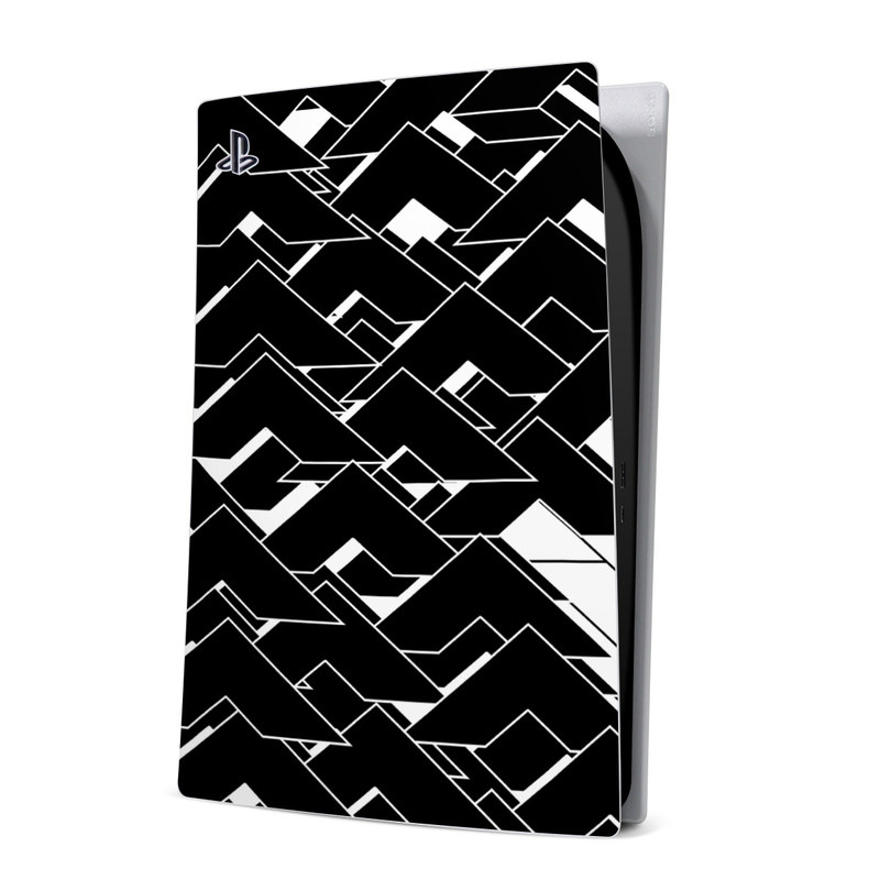 PlayStation 5 Digital Edition Skin design of Pattern, Black, Black-and-white, Monochrome, Monochrome photography, Line, Design, Parallel, Font with black, white colors