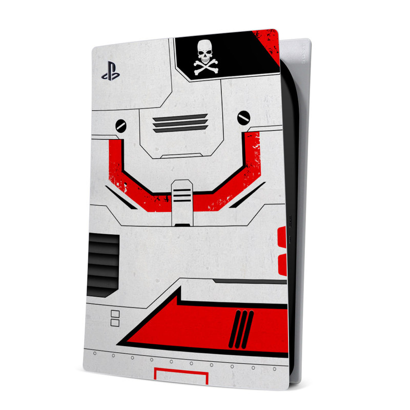 PlayStation 5 Digital Edition Skin design of Floppy disk, Technology, Electric red, Fictional character with white, red, black, gray colors