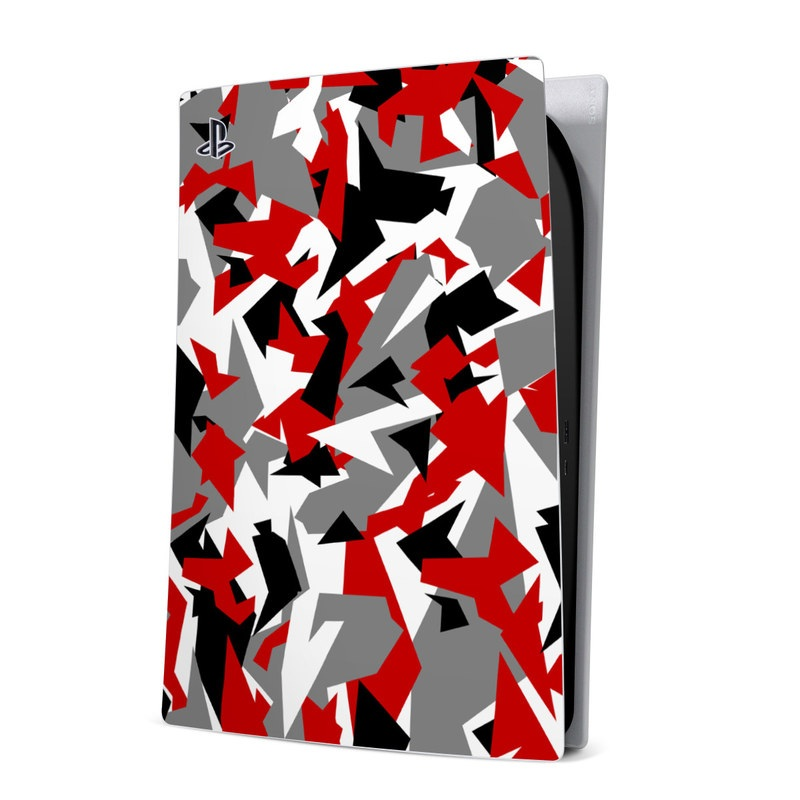 PlayStation 5 Digital Edition Skin design of Red, Pattern, Font, Design, Textile, Carmine, Illustration, Flag, Crowd with red, white, black, gray colors