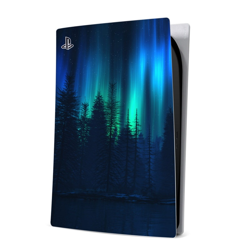 PlayStation 5 Digital Edition Skin design of Blue, Light, Natural environment, Tree, Sky, Forest, Darkness, Aurora, Night, Electric blue with black, blue colors