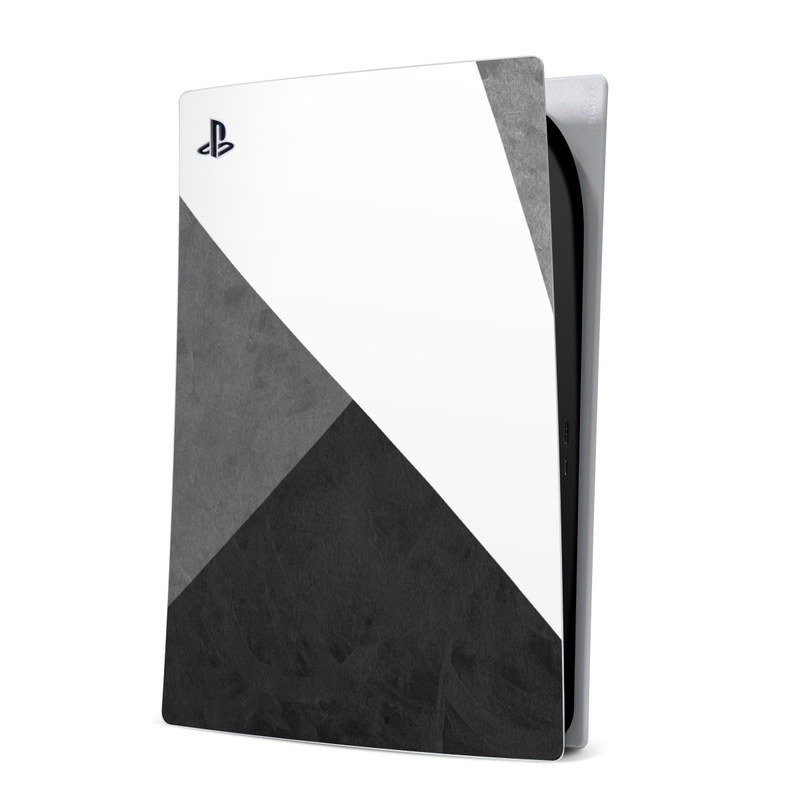 PlayStation 5 Digital Edition Skin design of Black, White, Black-and-white, Line, Grey, Architecture, Monochrome, Triangle, Monochrome photography, Pattern with white, black, gray colors