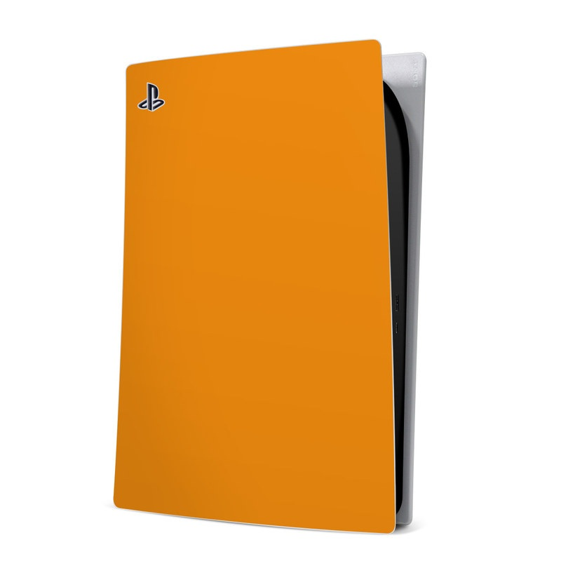 PlayStation 5 Digital Edition Skin design of Orange, Yellow, Brown, Text, Amber, Font, Peach with orange colors
