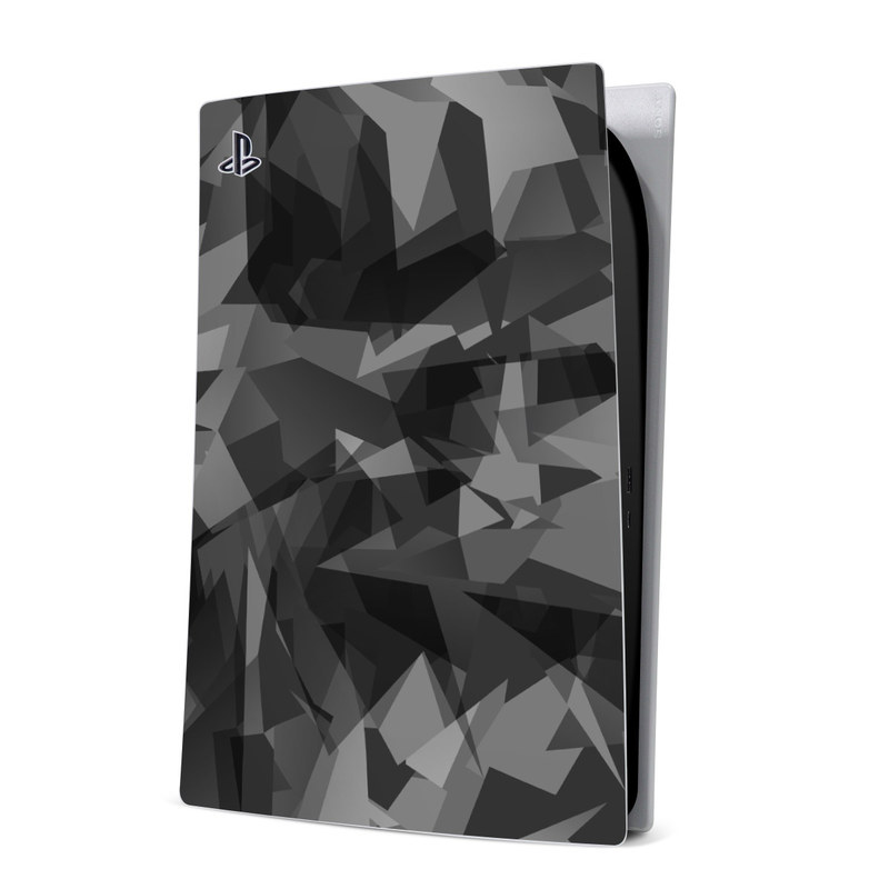 PlayStation 5 Digital Edition Skin design of Black, Pattern, Triangle, Black-and-white, Monochrome, Grey, Design, Line, Architecture, Monochrome photography with black, gray colors