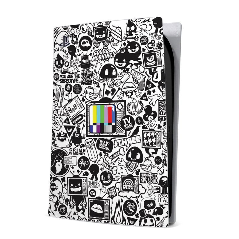 PlayStation 5 Digital Edition Skin design of Pattern, Drawing, Doodle, Design, Visual arts, Font, Black-and-white, Monochrome, Illustration, Art with gray, black, white colors