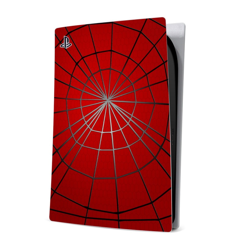 PlayStation 5 Digital Edition Skin design of Red, Symmetry, Circle, Pattern, Line with red, black, gray colors