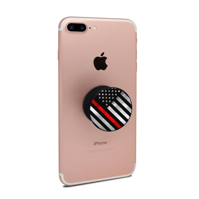 PopSocket Skin design of Flag of the united states, Flag, Line, Black-and-white, Pattern, Flag Day (USA), Veterans day, Independence day, Memorial day with black, white, gray, red colors