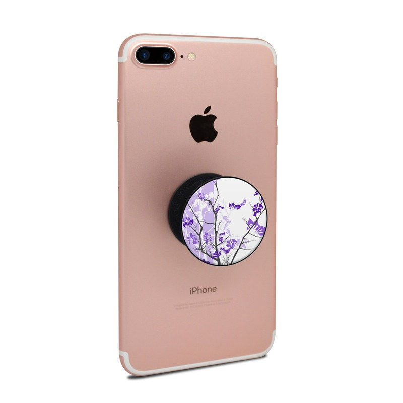 PopSocket Skin design of Branch, Purple, Violet, Lilac, Lavender, Plant, Twig, Flower, Tree, Wildflower with white, purple, gray, pink, black colors