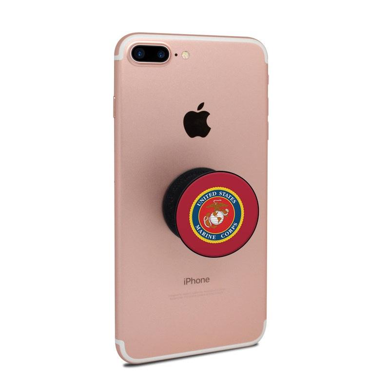 PopSocket Skin design of Emblem, Logo, Badge, Symbol, Circle, Crest, Trademark, Brand with red, blue, black, green, orange, gray colors