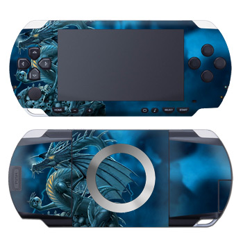 PSP 1st Gen Skin design of Cg artwork, Dragon, Mythology, Fictional character, Illustration, Mythical creature, Art, Demon with blue, yellow colors