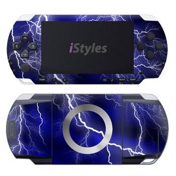 PSP 1st Gen Skin design of Thunder, Lightning, Thunderstorm, Sky, Nature, Electric blue, Atmosphere, Daytime, Blue, Atmospheric phenomenon with blue, black, white colors