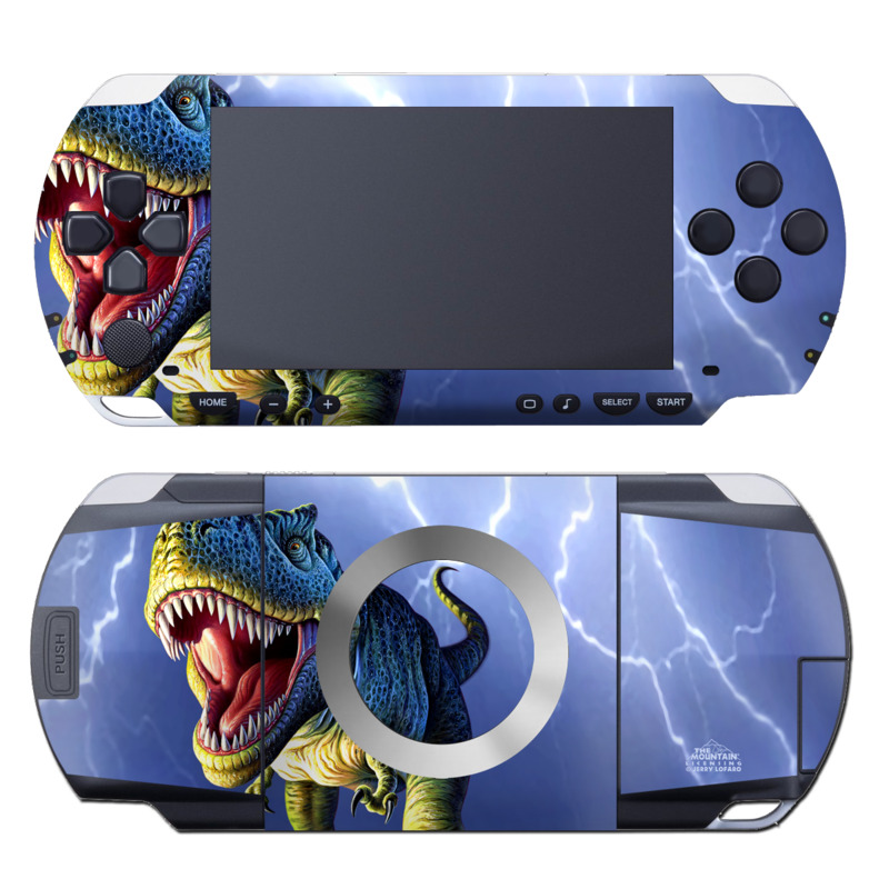 PSP 1st Gen Skin design of Dinosaur, Extinction, Tyrannosaurus, Velociraptor, Tooth, Jaw, Organism, Mouth, Fictional character, Art with blue, green, yellow, orange, red colors