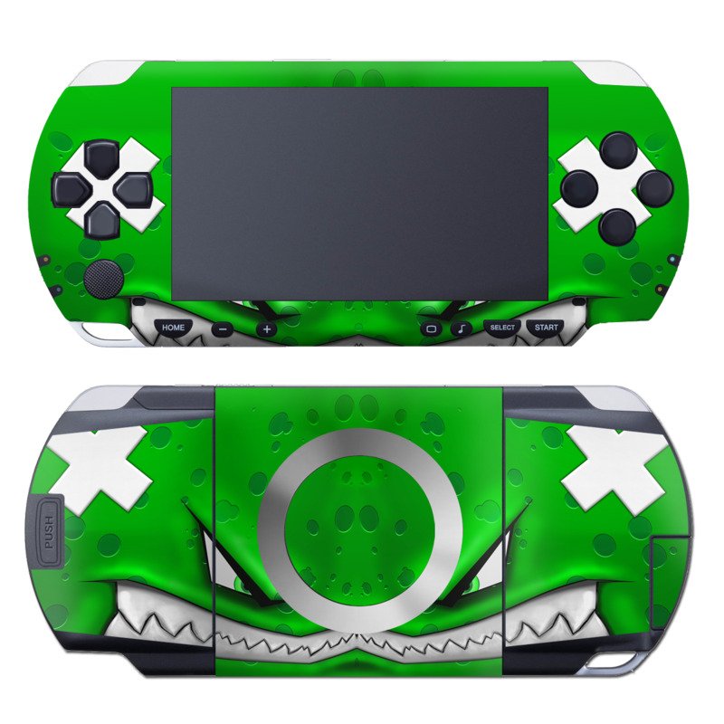 PSP 1st Gen Skin design of Green, Font, Animation, Logo, Graphics, Games with green, white colors