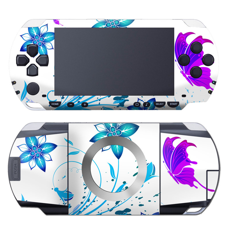 PSP 1st Gen Skin design of Clip art, Botany, Plant, Graphics, Graphic design, Pedicel, Flower, Wildflower with white, purple, blue, gray colors
