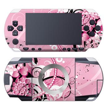 PSP 1st Gen Skin design of Pink, Floral design, Graphic design, Text, Design, Flower Arranging, Pattern, Illustration, Flower, Floristry with pink, gray, black, white, purple, red colors