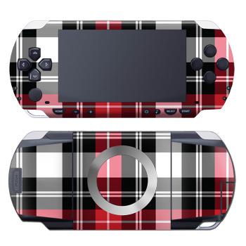 PSP 1st Gen Skin design of Plaid, Tartan, Pattern, Red, Textile, Design, Line, Pink, Magenta, Square with black, gray, pink, red, white colors