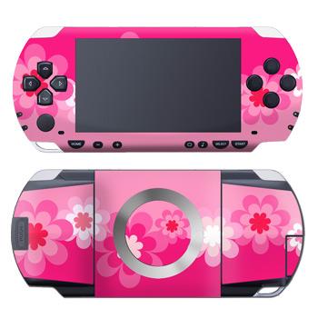 Retro Pink Flowers PSP Skin