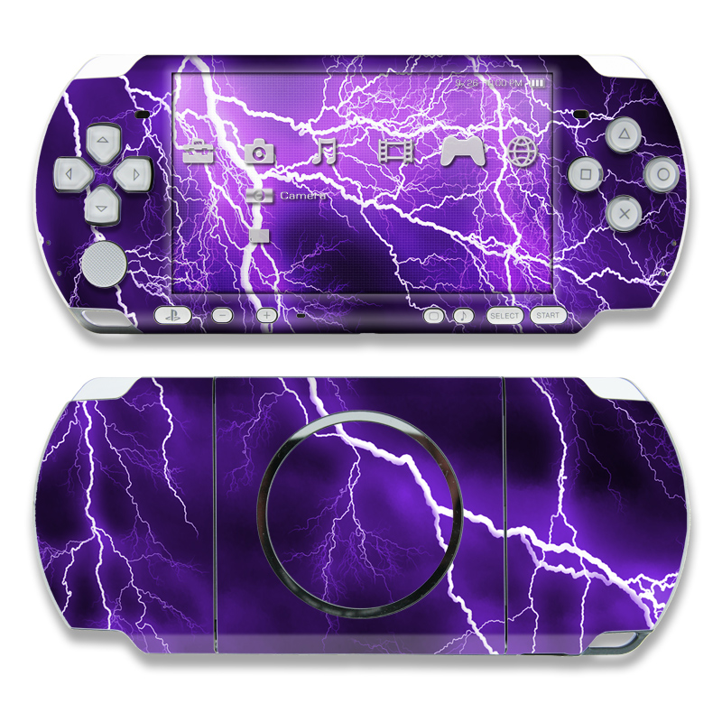 PSP 3rd Gen 3000 Skin design of Thunder, Lightning, Thunderstorm, Sky, Nature, Purple, Violet, Atmosphere, Storm, Electric blue with purple, black, white colors