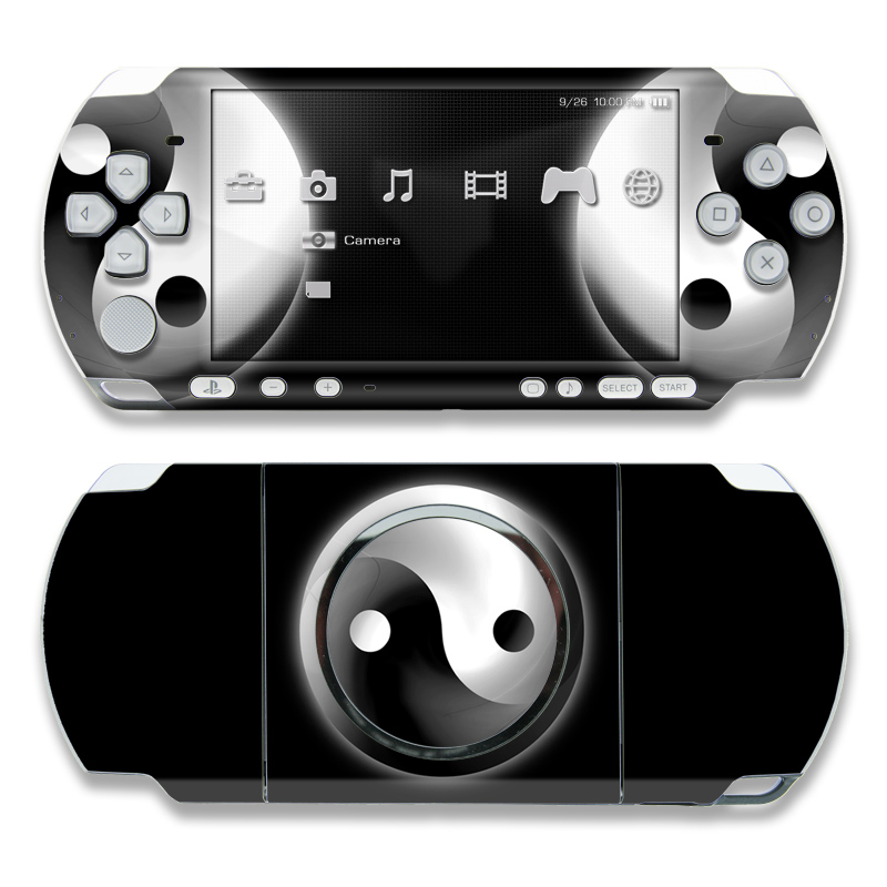 PSP 3rd Gen 3000 Skin design of Black-and-white, Atmosphere, Font, Circle, Eclipse, Monochrome photography, Monochrome, Stock photography, Symbol, Darkness with black, white colors