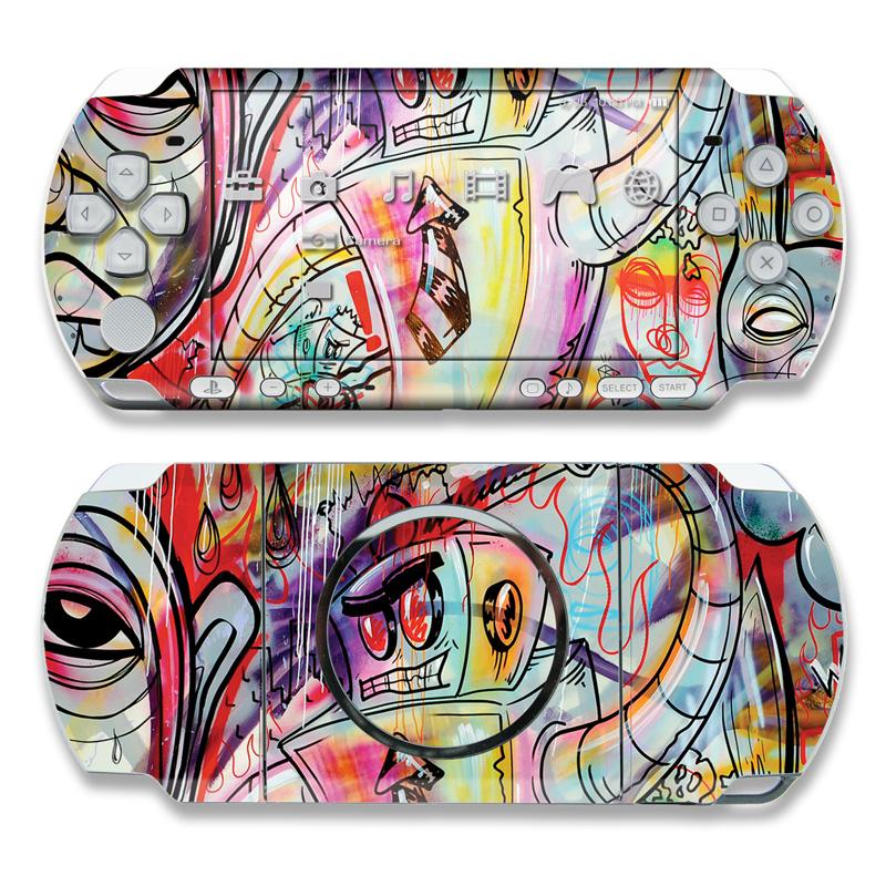 PSP 3rd Gen 3000 Skin design of Modern art, Graffiti, Street art, Art, Mural, Visual arts, Psychedelic art, Painting, Drawing, Illustration with blue, red, yellow, orange, purple colors