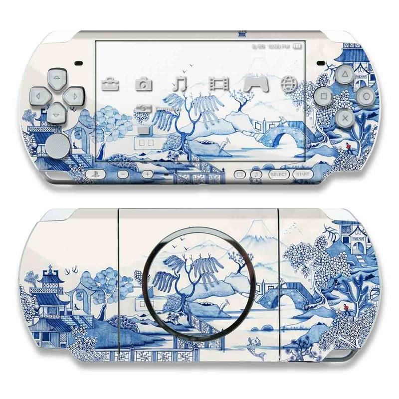 PSP 3rd Gen 3000 Skin design of Blue, Blue and white porcelain, Winter, Christmas eve, Illustration, Snow, World, Art with blue, white colors