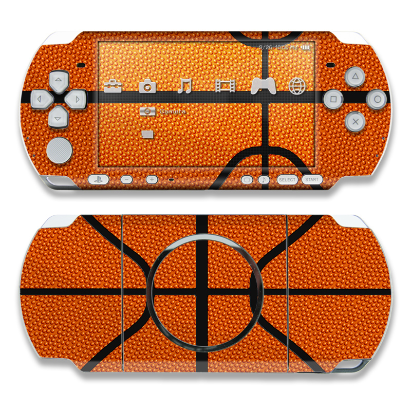 PSP 3rd Gen 3000 Skin design of Orange, Basketball, Line, Pattern, Sport venue, Brown, Yellow, Design, Net, Team sport with orange, black colors