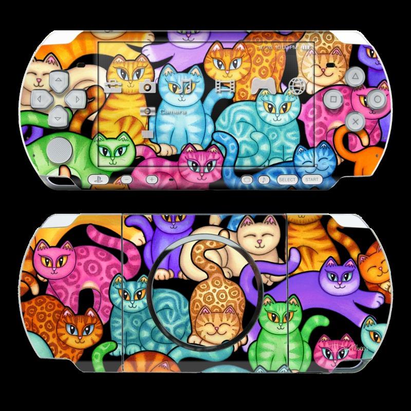 PSP 3rd Gen 3000 Skin design of Cat, Cartoon, Felidae, Organism, Small to medium-sized cats, Illustration, Animated cartoon, Wildlife, Kitten, Art with black, blue, red, purple, green, brown colors
