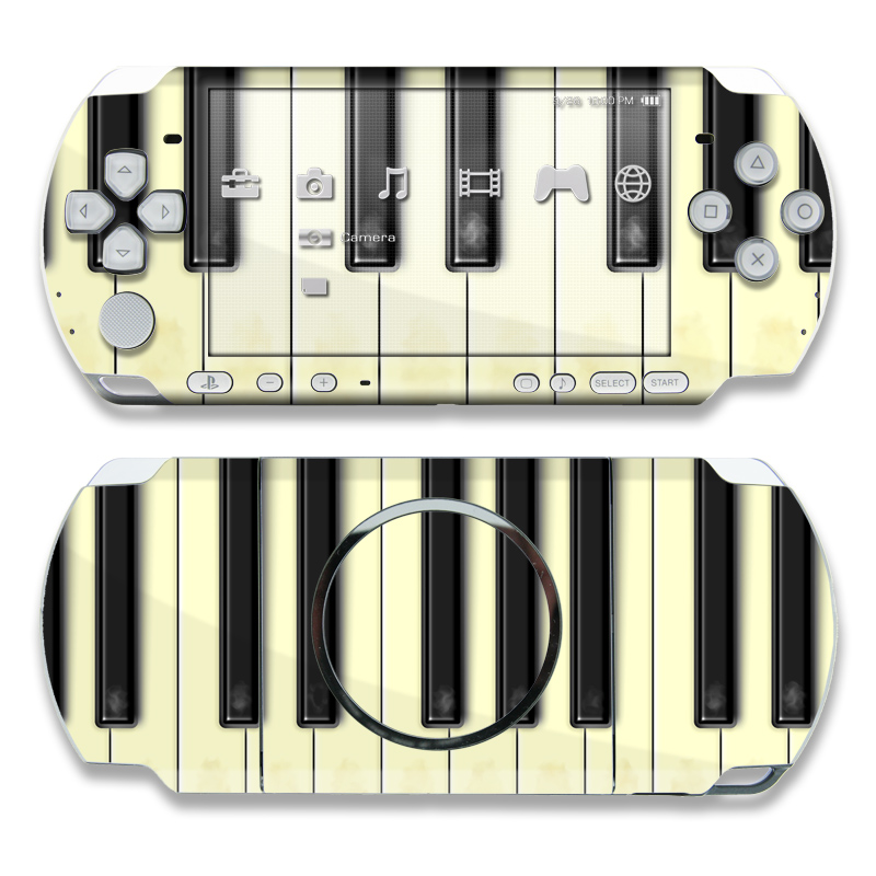 PSP 3rd Gen 3000 Skin design of Piano, Musical instrument, Keyboard, Electronic instrument, Musical keyboard, Digital piano, Pianet, Electric piano, Technology, Electronic device with yellow, black, gray colors