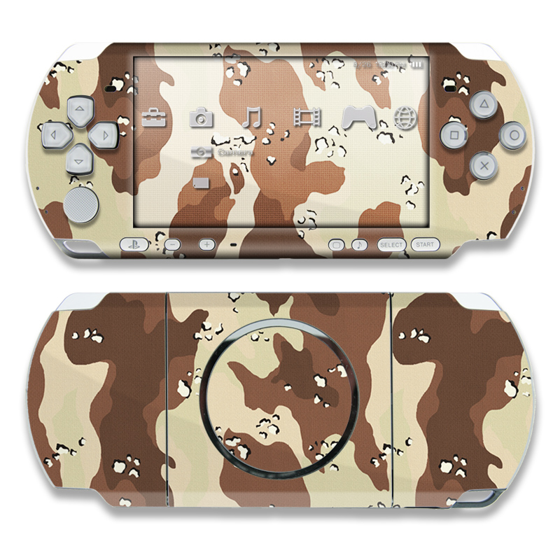 PSP 3rd Gen 3000 Skin design of Military camouflage, Brown, Pattern, Design, Camouflage, Textile, Beige, Illustration, Uniform, Metal with gray, red, black, green colors