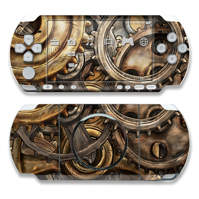 PSP 3rd Gen 3000 Skin design of Metal, Auto part, Bronze, Brass, Copper with black, red, green, gray colors