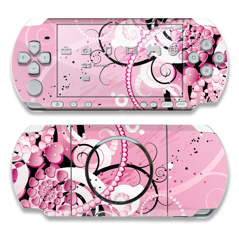 PSP 3rd Gen 3000 Skin design of Pink, Floral design, Graphic design, Text, Design, Flower Arranging, Pattern, Illustration, Flower, Floristry with pink, gray, black, white, purple, red colors