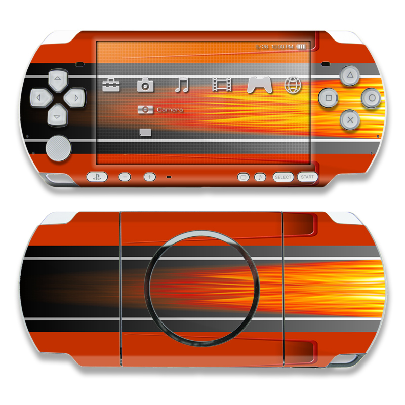 PSP 3rd Gen 3000 Skin design of Orange, Red, Line, Material property, Rectangle, Automotive lighting with red, black, orange, gray colors
