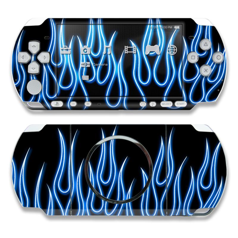 Blue Neon Flames PSP 3000 Skin