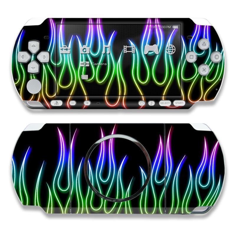 Rainbow Neon Flames PSP 3000 Skin