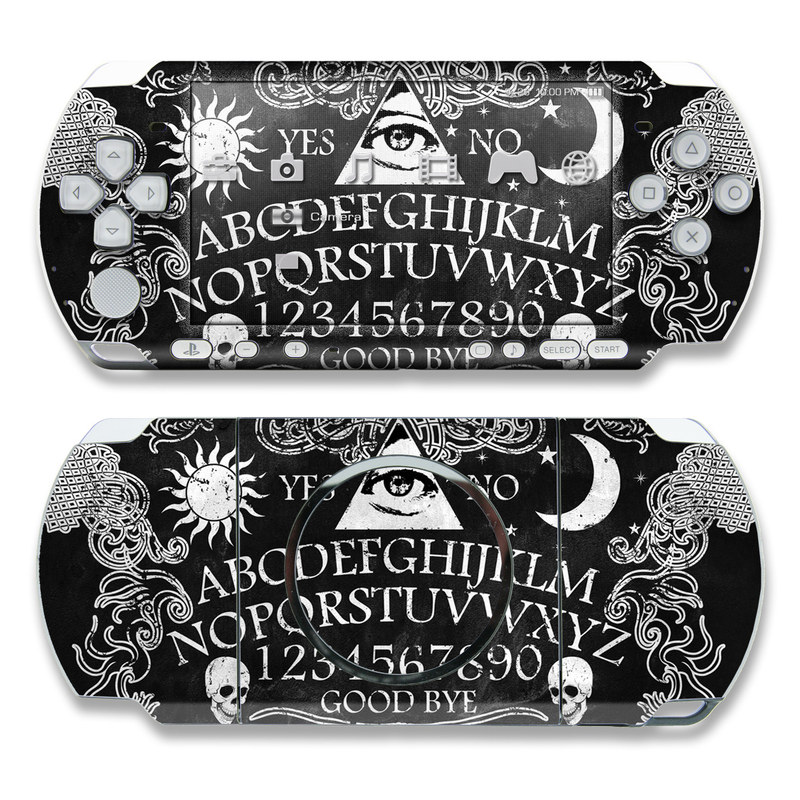 PSP 3rd Gen 3000 Skin design of Text, Font, Pattern, Design, Illustration, Headpiece, Tiara, Black-and-white, Calligraphy, Hair accessory with black, white, gray colors