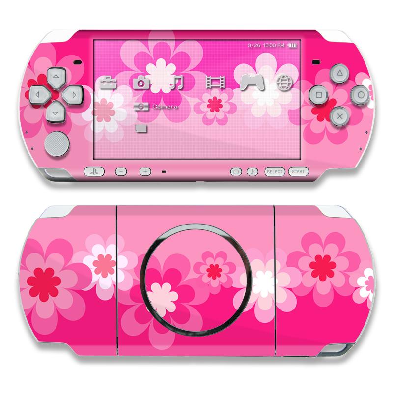 Retro Pink Flowers PSP 3000 Skin