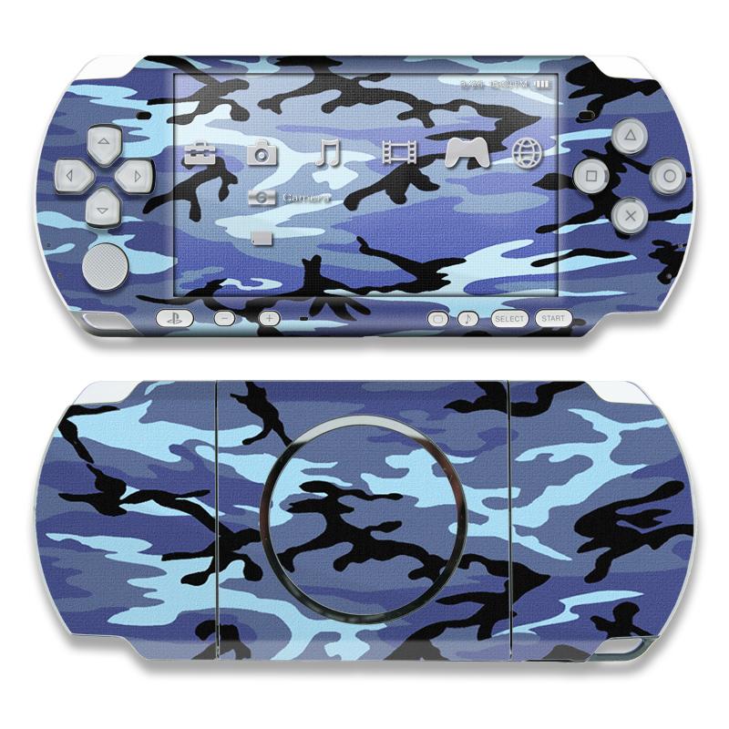 PSP 3rd Gen 3000 Skin design of Military camouflage, Pattern, Blue, Aqua, Teal, Design, Camouflage, Textile, Uniform with blue, black, gray, purple colors