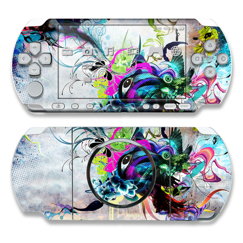 PSP 3rd Gen 3000 Skin design of Graphic design, Psychedelic art, Art, Illustration, Purple, Visual arts, Graffiti, Street art, Design, Painting with gray, black, blue, green, purple colors