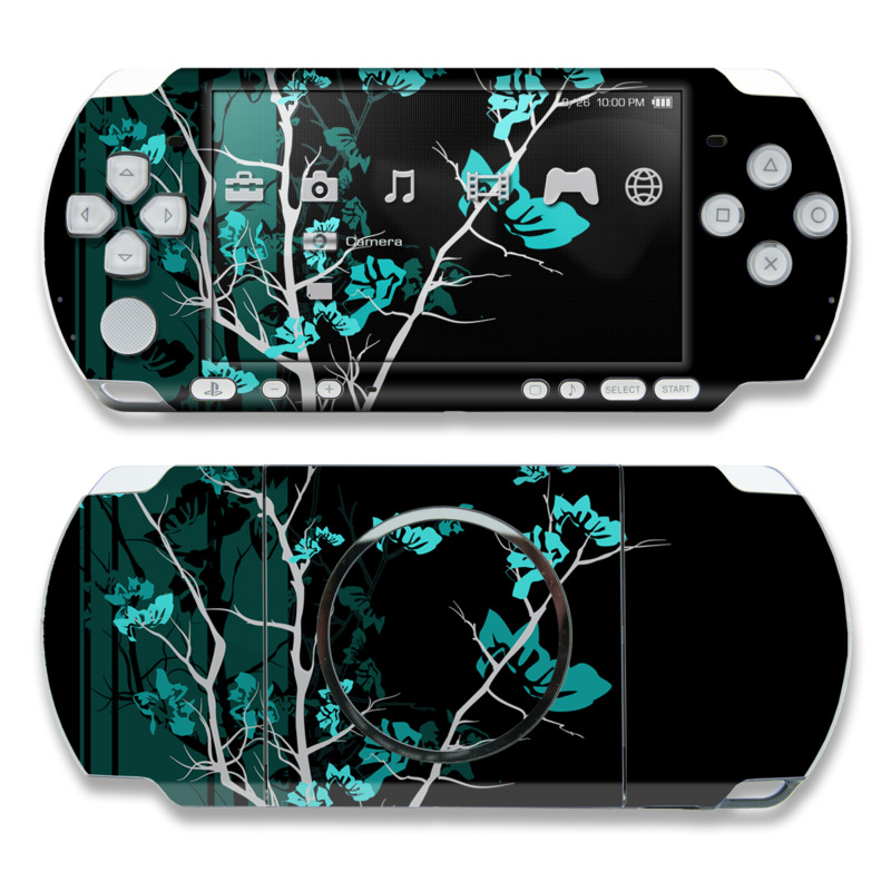 PSP 3rd Gen 3000 Skin design of Branch, Black, Blue, Green, Turquoise, Teal, Tree, Plant, Graphic design, Twig with black, blue, gray colors