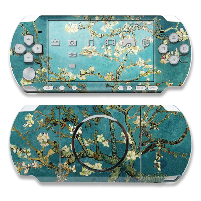 PSP 3rd Gen 3000 Skin design of Tree, Branch, Plant, Flower, Blossom, Spring, Woody plant, Perennial plant with blue, black, gray, green colors