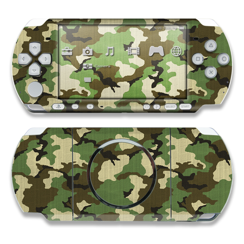 PSP 3rd Gen 3000 Skin design of Military camouflage, Camouflage, Clothing, Pattern, Green, Uniform, Military uniform, Design, Sportswear, Plane with black, gray, green colors