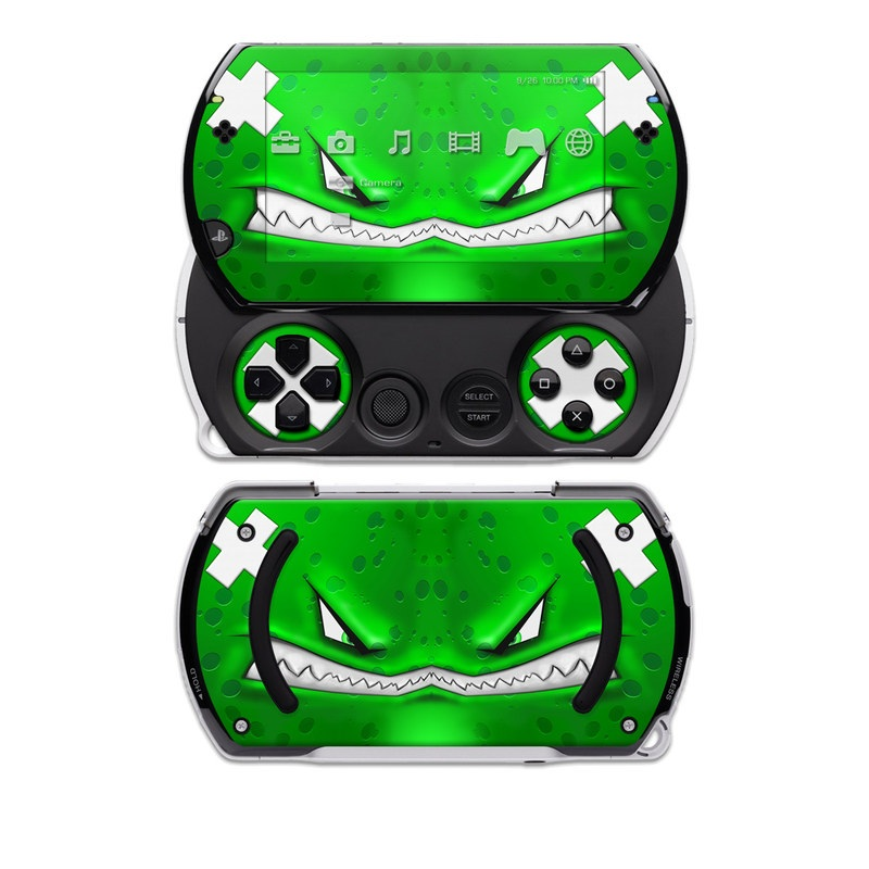 PSP go Skin design of Green, Font, Animation, Logo, Graphics, Games with green, white colors