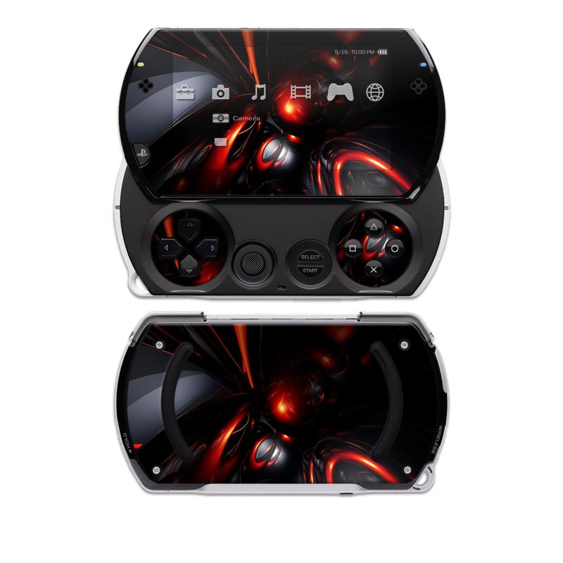 PSP go Skin design of Red, Light, Fractal art, Automotive lighting, Design, Automotive design, Graphics, Art, Darkness, Technology with black, red colors