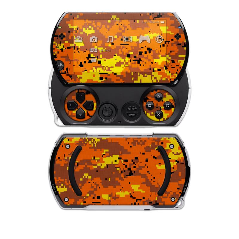 Digital Orange Camo Sony PSP go Skin