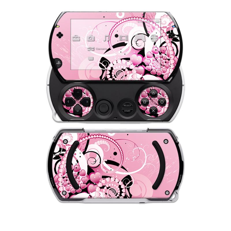 PSP go Skin design of Pink, Floral design, Graphic design, Text, Design, Flower Arranging, Pattern, Illustration, Flower, Floristry with pink, gray, black, white, purple, red colors