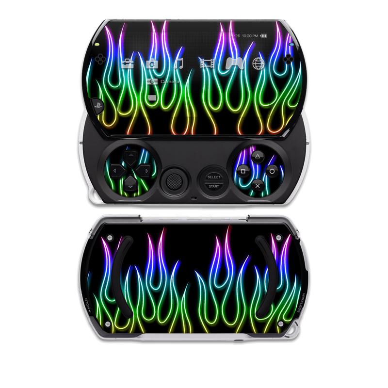 Rainbow Neon Flames PSP go Skin