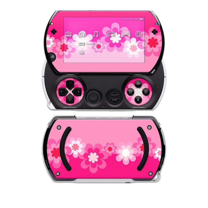Retro Pink Flowers PSP go Skin