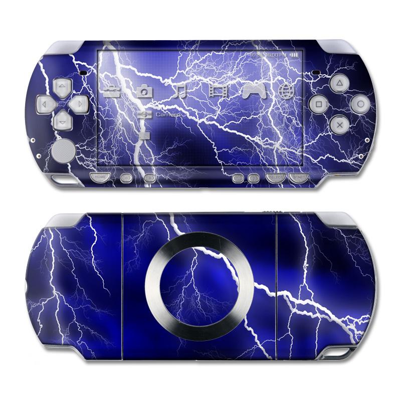 PSP 2nd Gen Slim & Lite Skin design of Thunder, Lightning, Thunderstorm, Sky, Nature, Electric blue, Atmosphere, Daytime, Blue, Atmospheric phenomenon with blue, black, white colors